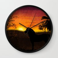 oasis Wall Clocks featuring Oasis by P. Simhanada Gaither