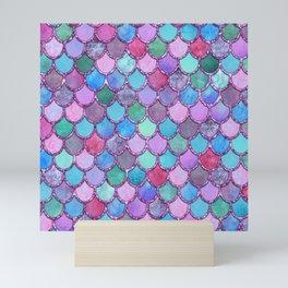 Colorful Pink Glitter Mermaid Scales Mini Art Print