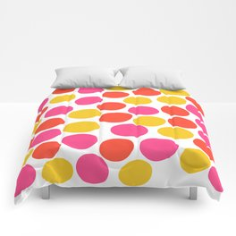 Bunte Punkte 003 / Mid-Century Modern Pattern Of Red, Pink & Yellow Dots Comforters
