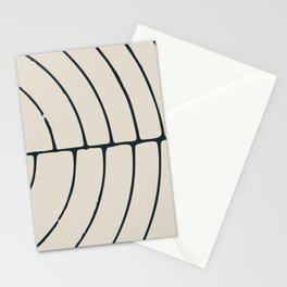 Sections, Circles and Lines, Charcoal Gray on Cream Stationery Cards