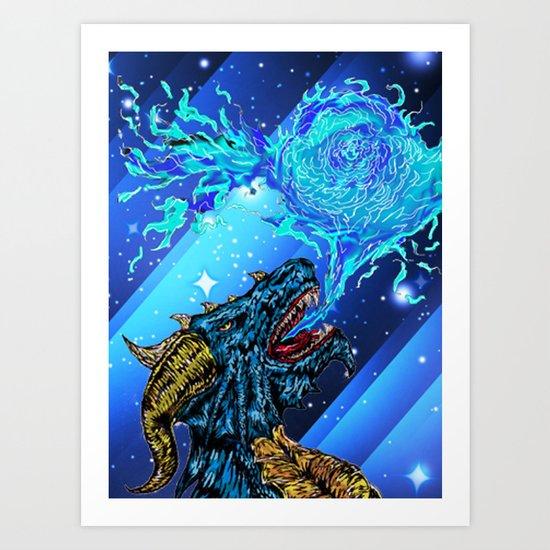 blue dragon fire artist Art Print
