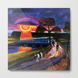 Sunset over the Blue Bridge landscape painting by Hermann Max Pechstein Metal Print