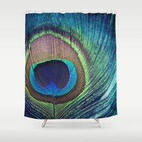 peacock feather Shower Curtains featuring Peacock Feather by KunstFabrik_StaticMovement Manu Jobst