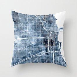 Chicago Map Navy Blue Watercolor by Zouzounio Art Throw Pillow