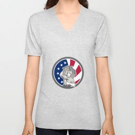 American Building Contractor USA Flag Icon Unisex V-Neck