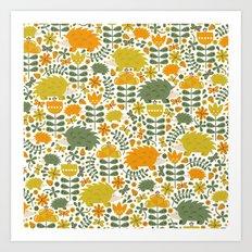 Autumn Hedgehog Forest Art Print
