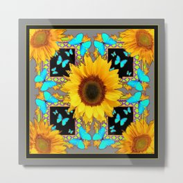 Southwest Sunflowers & Turquoise Butterflies Grey Art Metal Print