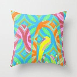 Nouveau Retro Graphic Blue Green Yellow Pink Throw Pillow