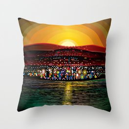 Angel Island Sunset (Square) Throw Pillow