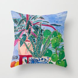 Houseplant collection Still Life on Blue Painting with Stromanthe Triostar, Pilea, and Snake Plant and Lion Vase Throw Pillow