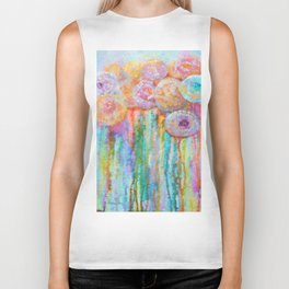 Colorful Flowers Abstract Biker Tank