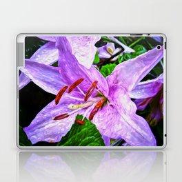Lilies On Black Background Laptop & iPad Skin