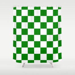 Checkered - White and Green Shower Curtain