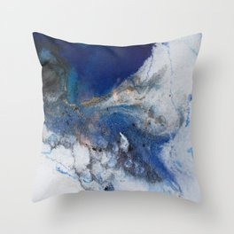 Abstract blue marble Throw Pillow