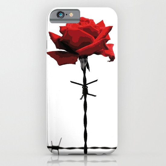 Barbed wire red rose iPhone & iPod Case