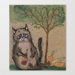 Drunken cat Canvas Print