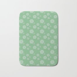 Green Succulent Rosettes Organic Pattern - Floral Line Drawing Bath Mat