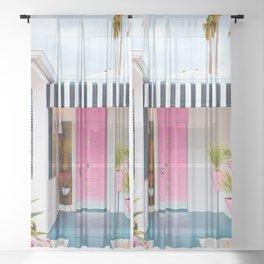 Cute Pink Door with Yard Flamingos in Palm Springs Sheer Curtain