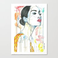 watercolour Canvas Prints featuring watercolour by Udya