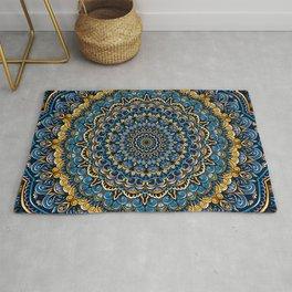 Blue and yellow Unique Mandala Rug