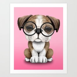 Cute English Bulldog Puppy Wearing Glasses on Pink Art Print