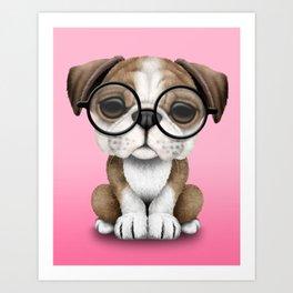 Cute English Bulldog Puppy Wearing Glasses on Pink Art Print