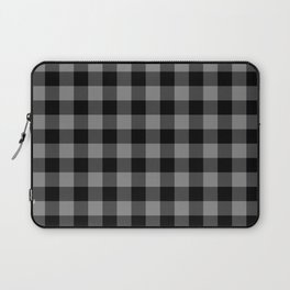 Gray and Black Lumberjack Buffalo Plaid Fabric Laptop Sleeve