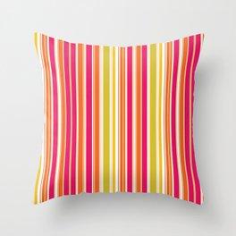 Stripes (Parallel Lines) - Orange Pink Green White Throw Pillow