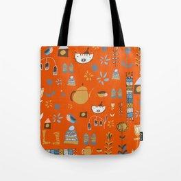 hygge cat and bird orange Tote Bag
