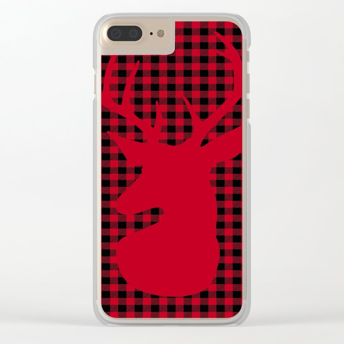 Red Plaid Deer Stag Design Clear iPhone Case