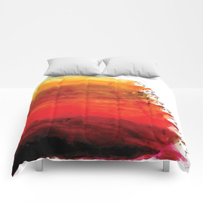 Rainbow of red hair Comforters