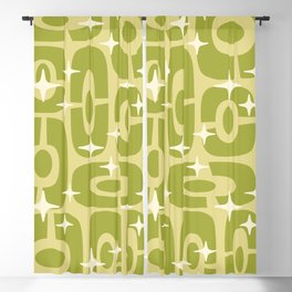 Mid Century Modern Cosmic Abstract 136 Olive Green Blackout Curtain