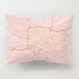 Pink and gold Glasgow map Pillow Sham