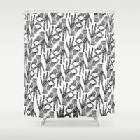 okay Shower Curtains featuring Ay Okay! by Jessica Slater Design & Illustration