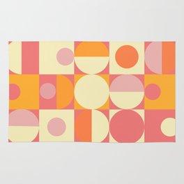 Thoroughly Modern Pink And Orange Geometric Design Rug