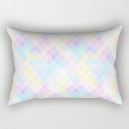 Pale Pink Mermaid Tail Abstraction. Pastel Magic Fish Scale Pattern Rectangular Pillow