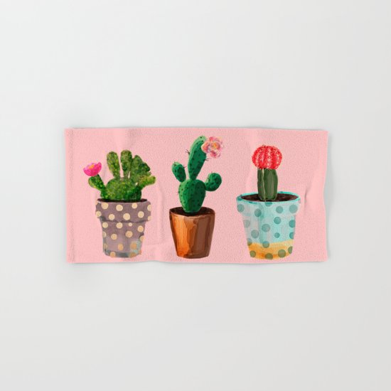 Three Cacti With Flowers On Pink Background Hand & Bath Towel