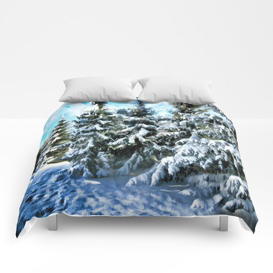 Majestic Winter In New England Comforters