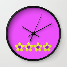 Spring Daisies Jelly Art - Lavender Yellow Pink Wall Clock