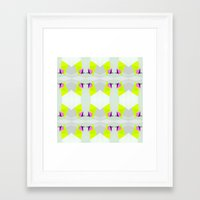 polygon Framed Art Prints featuring Polygon Neon by ARTDROID