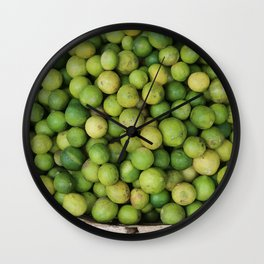 Lemon green in basket on market #society6 Wall Clock