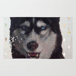 Siberia [ oil on mirror ] Husky dog portrait Rug