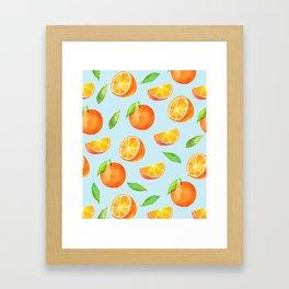 Watercolor Oranges Pattern 3 Framed Art Print