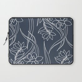 Floral Drawing in Blue Laptop Sleeve