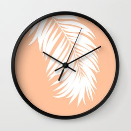 Palm Leaf White on Apricot Ice Wall Clock