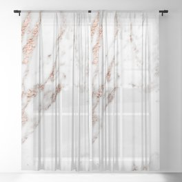 Rose gold foil marble Sheer Curtain