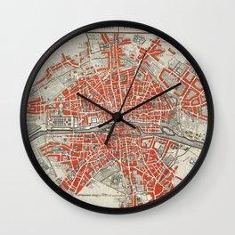 Vintage Paris Map Illustration Wall Clock