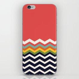 Retro Chevrons (navy and salmon) iPhone Skin