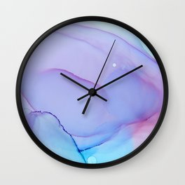 Lilac Essense fluid ink abstract painting Wall Clock