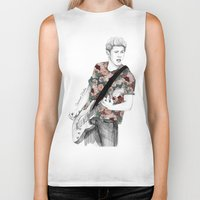 niall Biker Tanks featuring Floral Niall by Coconut Wishes